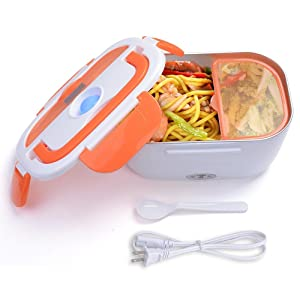 Yescom 1.5L Portable Electric Heating Lunch Box Food Storage Warmer w/Stainless Steel & PP Removable Container Orange