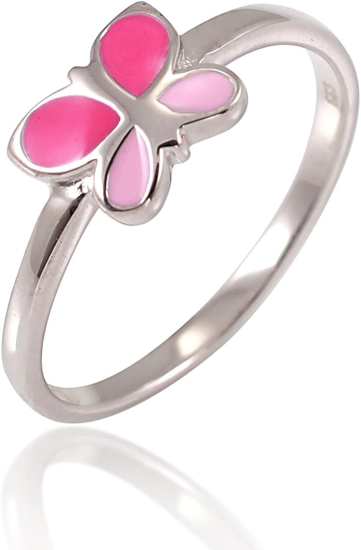 925 Sterling Silver Fuchsia Pink Enamel Little Butterfly Ring Children Jewelry Size 4, 5, 6