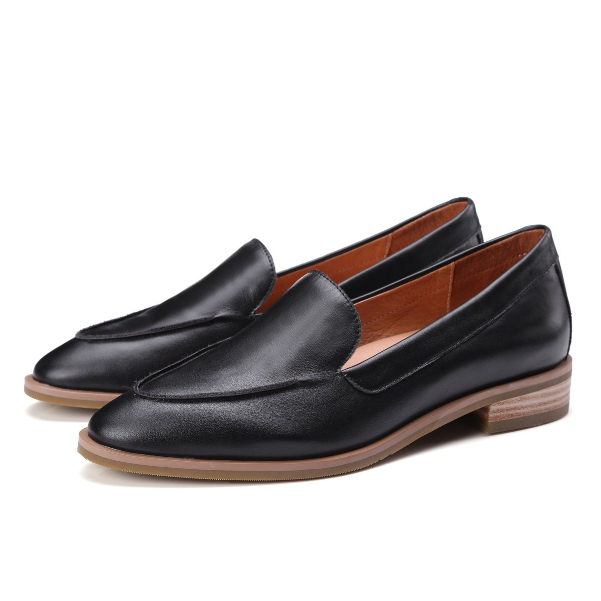 ONEENO Loafers for Women Comfort Casual Slip on Low Heel Cowhide Leather Flat Shoes Black Size 9 US by ONEENO (Image #6)