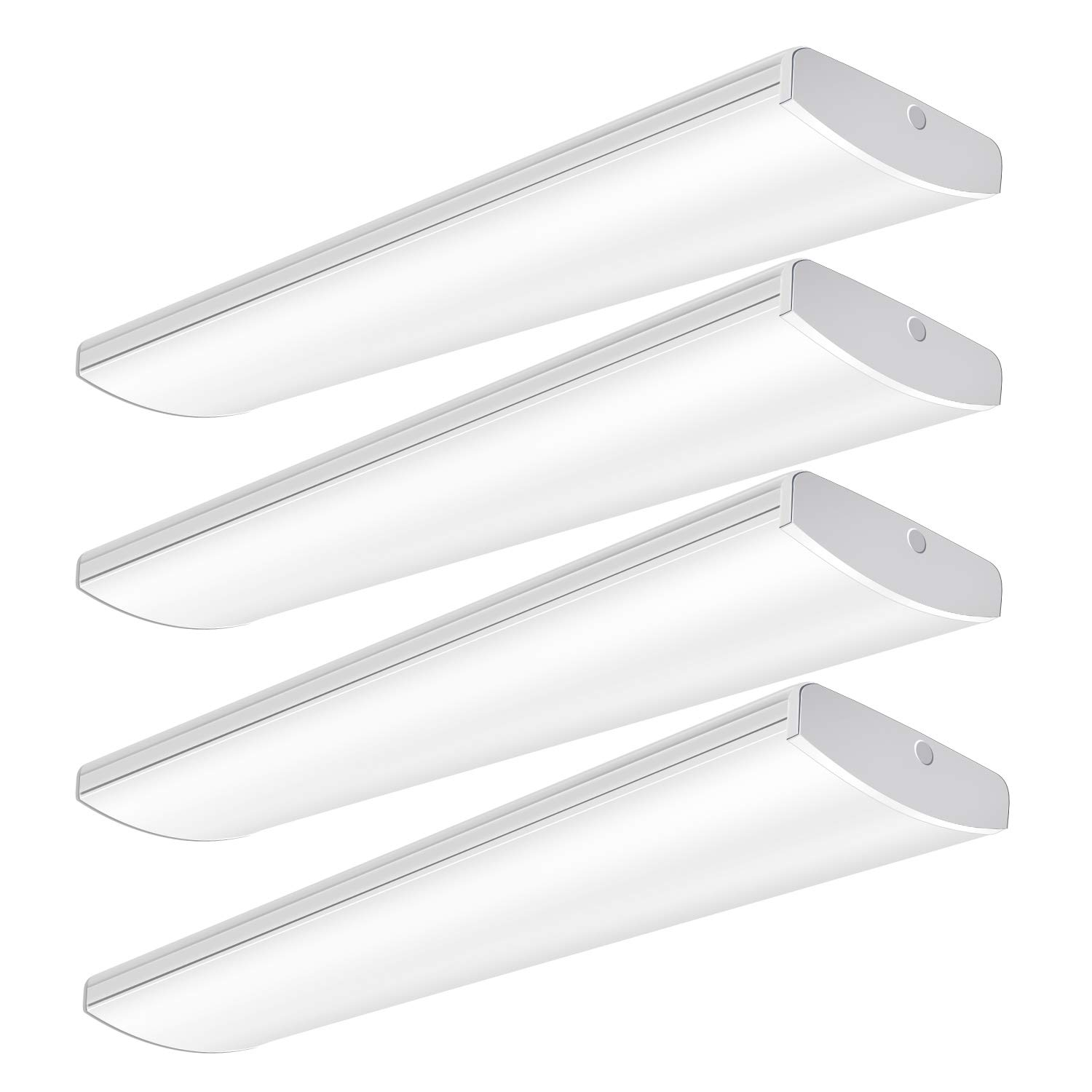 AntLux 72W Commercial LED Wraparound Fixture 4FT Office Ceiling Lighting, 8500 Lumens, 4000K, 4 Foot Low Bay Flush Mount Garage Shop Lights, Integrated Wrap Light, Fluorescent Tube Replacement, 4 Pack