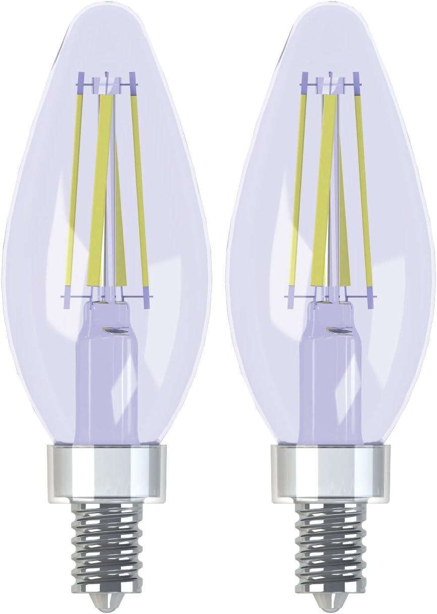 GE Lighting Reveal HD LED 3.2-watt (40-watt Replacement), 240-Lumen Blunt Tip Light Bulb with Candelabra Base, 2-Pack (92333)