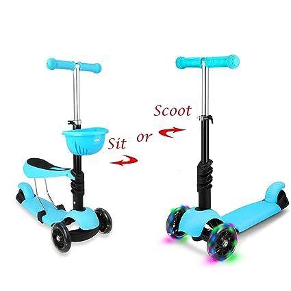 STOTOY Patinete infantil Deluxe 3 Ruedas 3 en 1 Micro Mini Kick Scooter con asiento extraíble, LED intermitente ruedas y manillar ajustable para niños ...