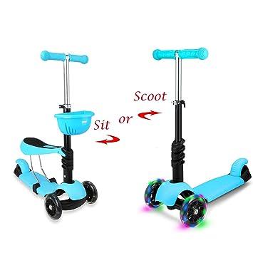 STOTOY - Patinete 3 en 1 Micro Mini Kick Scooter con Asiento extraíble, Ruedas LED Intermitentes y Manillar Ajustable para niños