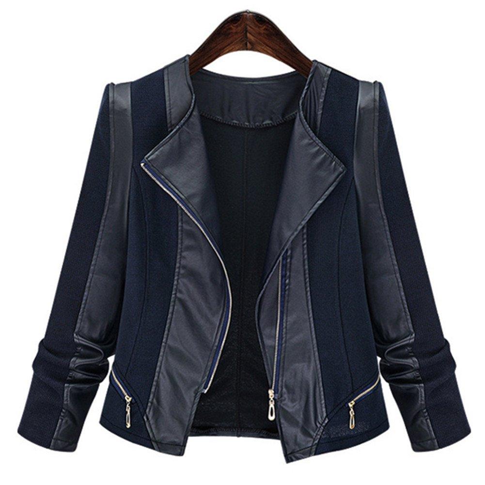 Newbestyle Women Lapel Faux Leather Oblique Zipper Slim Motorcycle Jacket X171025PUC
