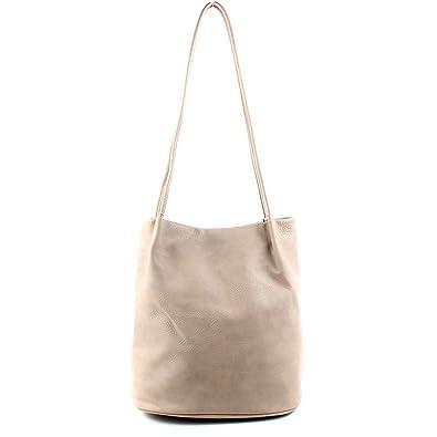 a2bc2653dee8e Aossta Womans Fashion Designer Medium Size Plain Soft Leather Hobo Bucket  Tote Shoulder Bag (A6773