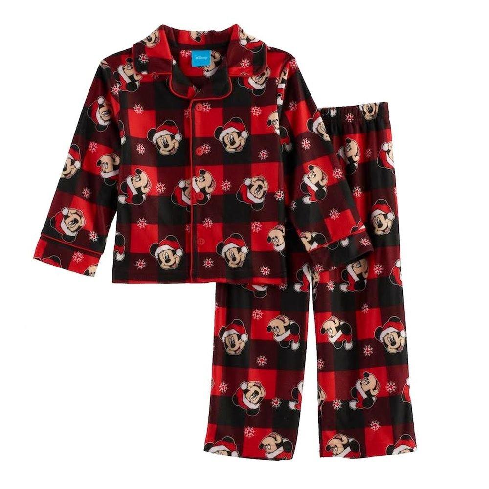 Mickey Mouse Santa Buffalo Check Plaid Christmas Flannel Pajama Set