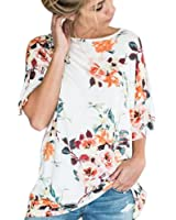 Clearance! ZOMUSA Womens Floral Printing Loose Short Sleeve Blouse