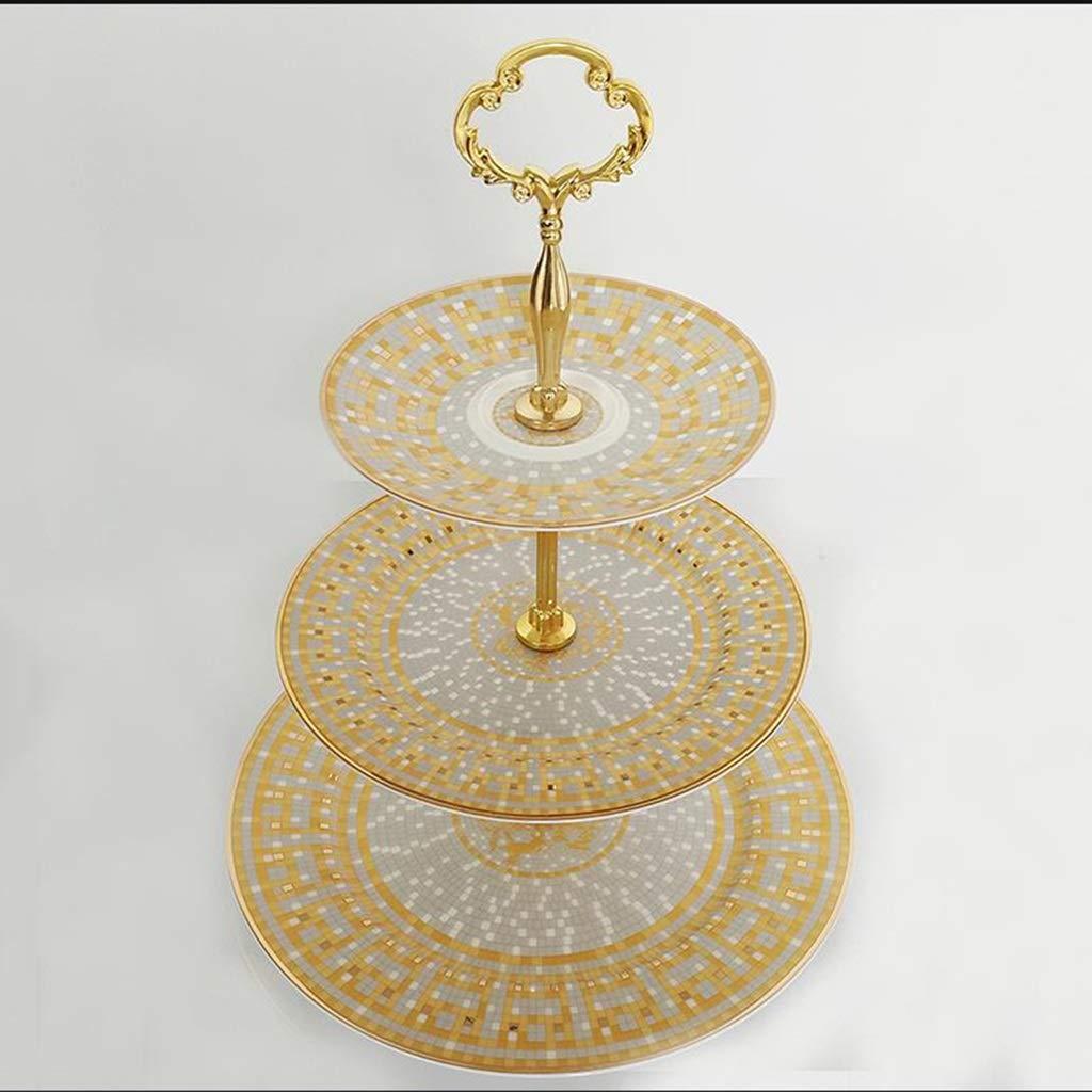 多層軽食の棚の倍のフルーツケーキの陳列台、金モザイク様式 QYSZYG (Size : 27cm×35CM) B07TLK6FW6  27cm×35CM