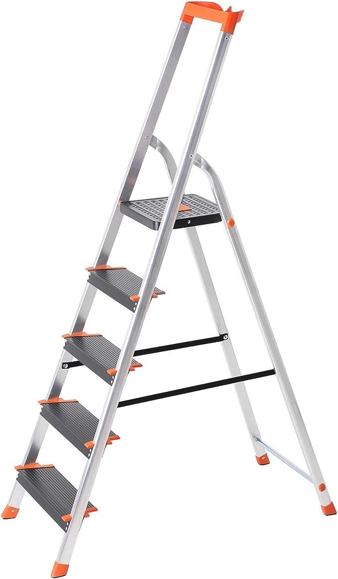 SONGMICS Escalera de 5 Peldaños, Escalera de Aluminio con Peldaños de 12 cm de Ancho, Escalera Plegable con Bandeja y Pies Antideslizantes, Carga de 150 kg, TÜV Rheinland Test, GS EN131, Negro