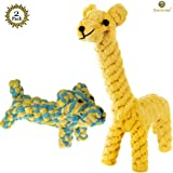 SunGrow Cotton Rope Knot Dog Toys, 10x6 Inches, Chew Toy for Dental Care, Boredom Buster Rope Toy, Interactive Pet Play Training, Soft, Washable & Strong Durable Handwoven Cotton Rope, 2 Pieces