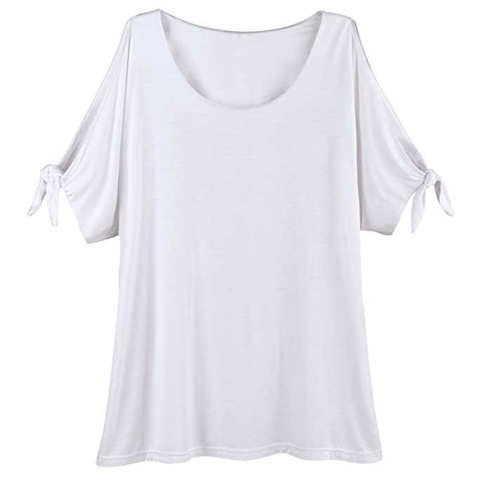 9d7fb41a Kaktus Sportswear Cold-Shoulder Tunic Top - Short Tie Sleeves Scoop  Neckline - White -
