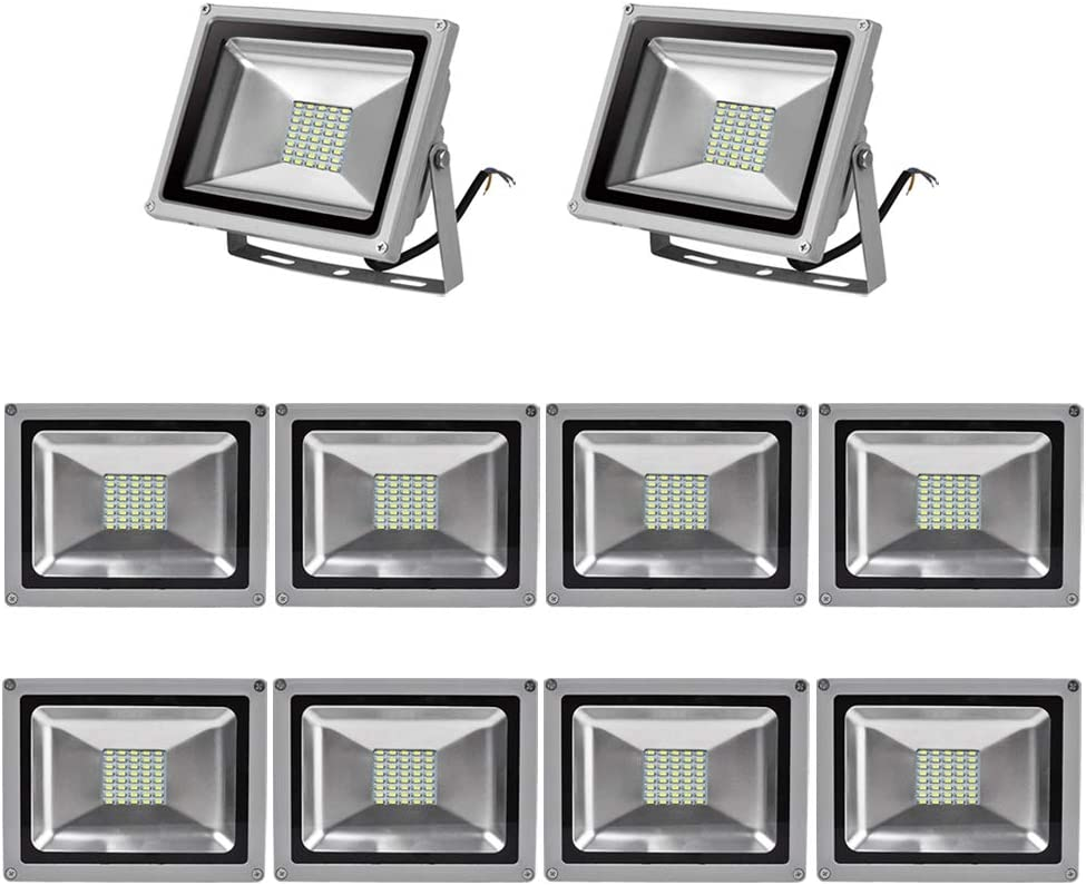 10X 30W Foco LED Proyector de Luz Lámpara IP65 Impermeable Iluminación Exterior del Jardín al Aire Libre, Patio, Terraza. Bajo Consumo de Energía y Alto Brillo Blanco frío 220V