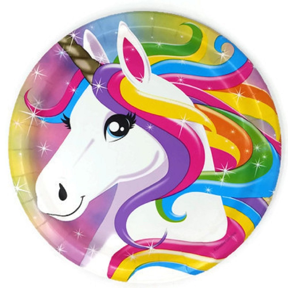 Service for 10 Creative Converting Unicorn Birthday Party Supplies Paper Plates and Napkins Bundle of 4
