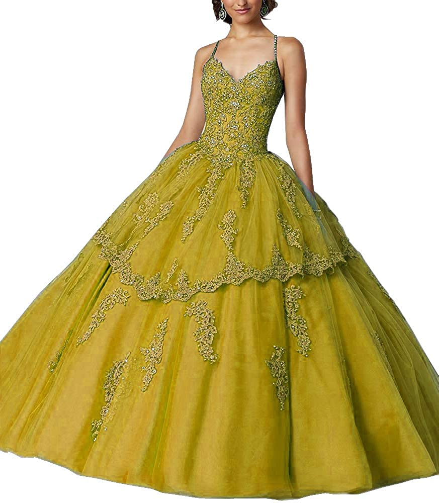 gold M Bridal Women's Spaghetti Straps Beaded Lace Appliques Open Back Long Quinceanera Dress Ball Gown