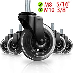 "Office Chair Wheels by 8T8 for Smart Home Offices, M8 5/16 Screw stem Caster Set of 5 Heavy Duty 3"" Replacement Rubber Office Chair Casters- w/Universal Fit(Black)"