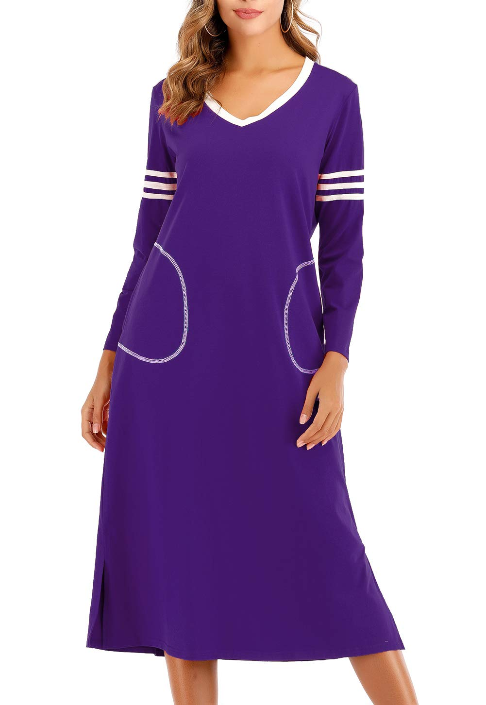 AOVXO Long Nightgown Womens V Neck Long Sleeve Nightshirt Ultra-Soft Cotton Fabric Split Hem Design with 2 Side Deep Pockets (Purple, L)