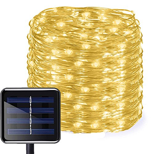 Aluvee Solar Copper Wire String Lights,50ft/150LED Outdoor Waterproof Garden Decoration Copper Wire Christmas Lamp for Wedding Party Tree Xmas Decoration Tree Xmas (Warm White) (Palm Lamps)