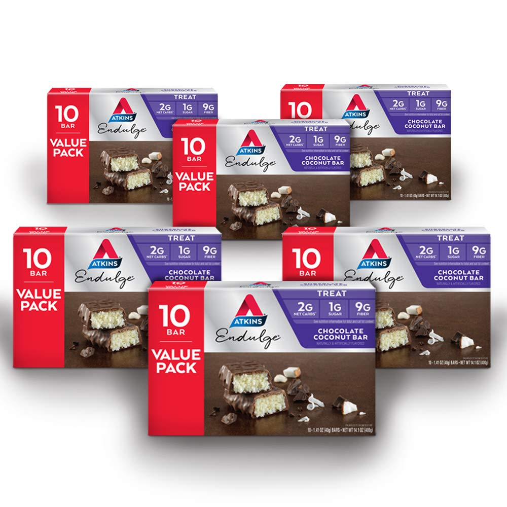 Atkins Endulge Treat, Chocolate Coconut Bar, Keto Friendly, 60 Count (Value Pack) by Atkins