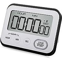 Digital Kitchen Timer Magnetic Loud Alarm Clock, Large LCD Screen Silent/Beeping Multi-function for Teachers Kids, Black