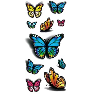 TAFLY 3D Colorful Butterfly Body Art Temporary Tattoos Waterproof Sticker 5 Sheets