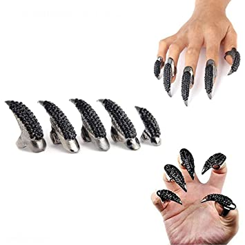 Amazon Com Halloween Finger Claws Nails Gothic Punk Rhinestones Nails Ring For Men Women Costume And Cosplay Crystal Fake Long Nails Eagle Claw Ring Dragon Claw Beauty Acrylic nails designs black and red wwwvaloblogicom. halloween finger claws nails gothic punk rhinestones nails ring for men women costume and cosplay crystal fake long nails eagle claw ring dragon claw