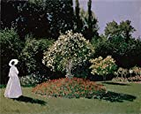 Oil Painting 'Monet, Claude_1867_Woman In The Garden Sainte-Adresse' 30 x 37 inch / 76 x 94 cm , on High Definition HD canvas prints is for Gifts And Bath Room, Foyer And Home Theater Decoration, easy