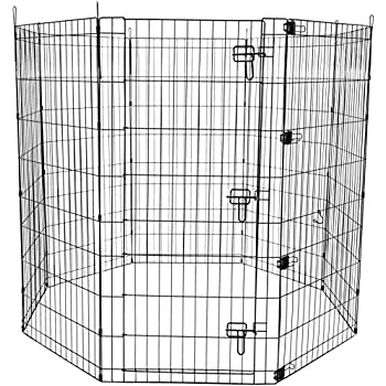 """AmazonBasics Foldable Metal Pet Exercise and Playpen with Door, 48"""""""