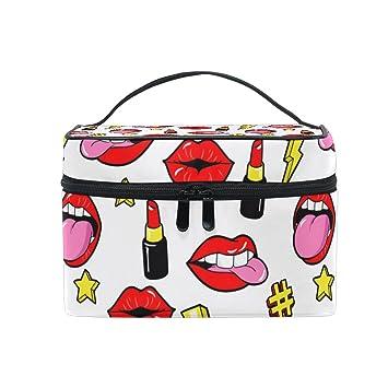 Amazon.com   Cooper girl Lip Tongue Kiss Cosmetic Bag Travel Makeup Train  Cases Storage Organizer   Beauty ff5fbc40a4d71