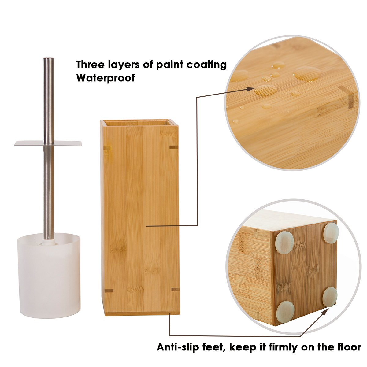 White Fits All Bathroom Toilet Types Bamboo Long Stainless Steel Handle with Lid and Strong Bristles GOBAM Toilet Brush and Holder