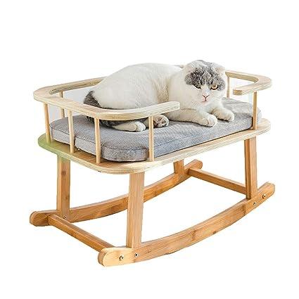 LiRongPing Cama para Mascotas Mecedora de Madera Maciza ...