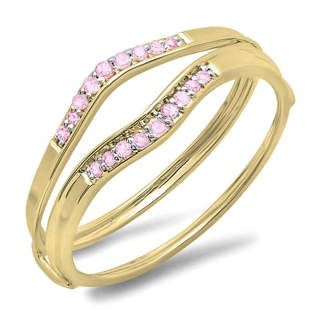 Dazzlingrock Collection 0.12 Carat (ctw) 10K Round Pink Sapphire Anniversary Enhancer Guard Wedding Band, Yellow Gold, Size 7