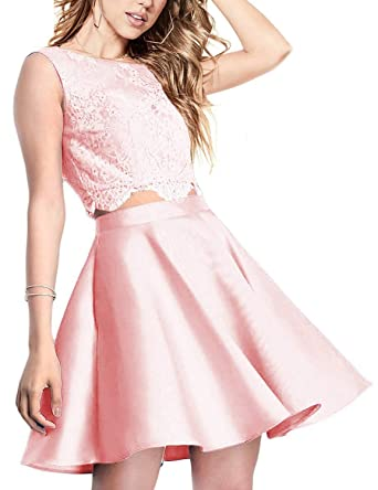 ea1d54f164 Aurora Bridal Women s Lace 2 Piece Homecoming Dresses 2018 Short Prom Gown  AH106 at Amazon Women s Clothing store