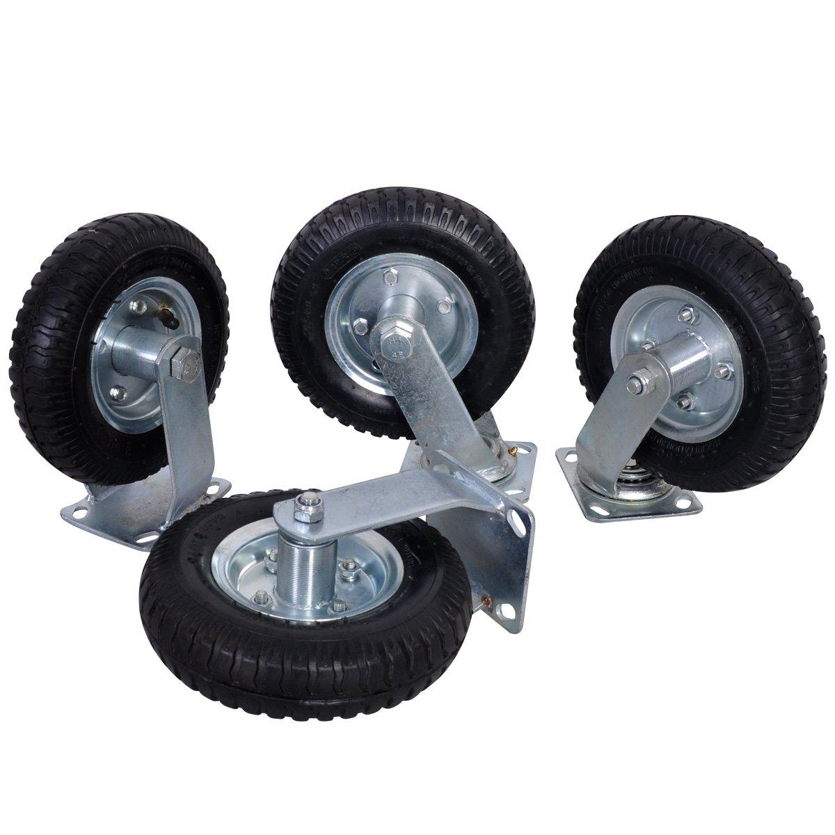 4 PCS 8'' Air Tire Pneumatic 2 Rigid Wheels & 2 Swivel Casters Cart Farm Caster