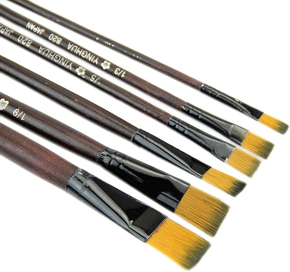 cnnIUHA Pack of 6 Art Brown Nylon Paint Brushes for Acrylic,Painting Brush for Student Pen Pencil School Supplies