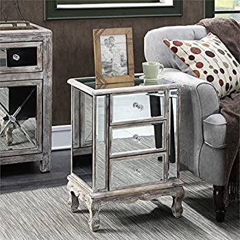 Etonnant Convenience Concepts Gold Coast Collection 3 Drawer Mirrored End Table,  Weathered White/Mirror
