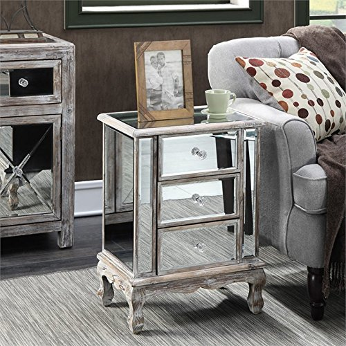 Convenience Concepts Gold Coast Collection 3-Drawer Mirrored End Table, Weathered White/Mirror by Convenience Concepts