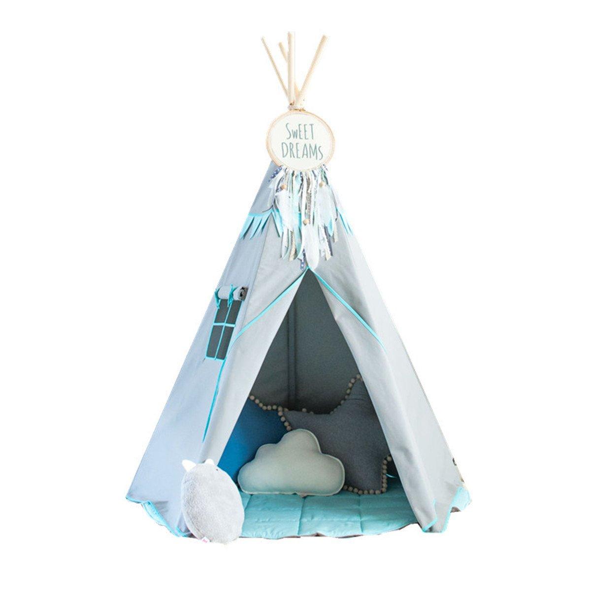 Rwy Indian Kinder Zelt Spiel Zimmer Indoor Triangle Stoff Puppenhaus,grau