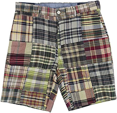 Polo Ralph Lauren Men's Madras Patchwork Classic-Fit Shorts Size 32W Blue Red Multi - Blue Patchwork Shorts