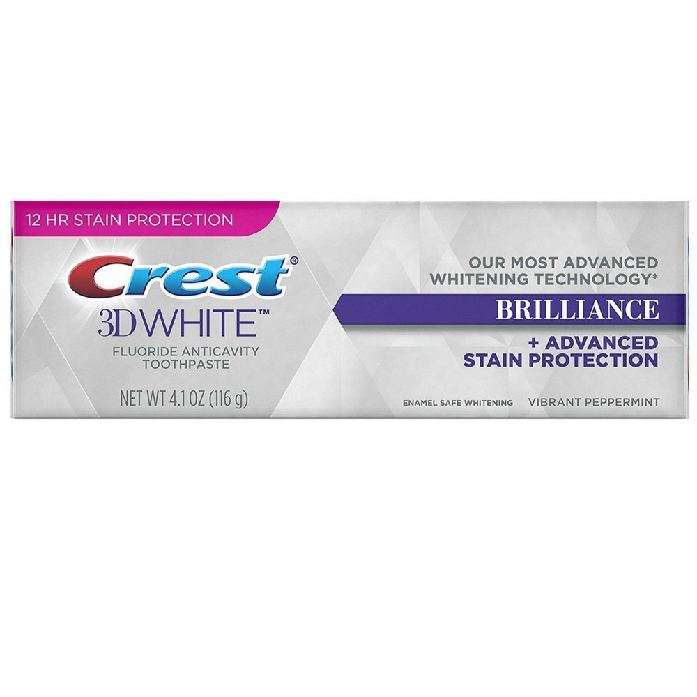 Crest 3D White Brilliance Toothpaste, Vibrant Peppermint 4.1 oz (Pack of 12)