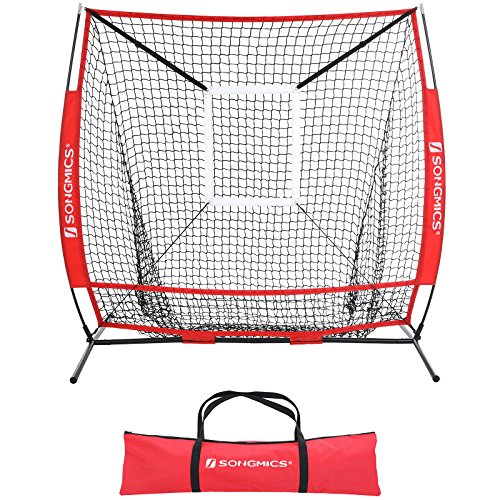 SONGMICS 5' x 5' Baseball Net, Portable Softball Net, Practice Net with Pitching Target, Carry Bag, Ground Stakes, for Hitting and Batting Practice, Red, USBN55RD by SONGMICS