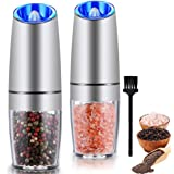 Gravity Electric Salt and Pepper Grinder Set, Automatic Pepper and Salt Mill Grinder,Battery-Operated with Adjustable Coarsen