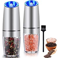 Gravity Electric Salt and Pepper Grinder Set, Automatic Pepper and Salt Mill Grinder,Battery-Operated with Adjustable…
