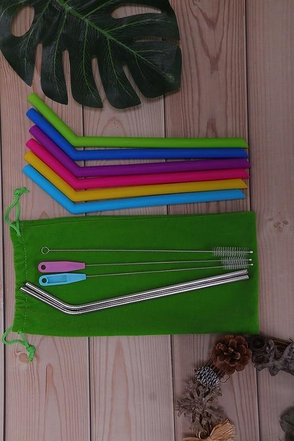 Weshine 8 Pajitas de Silicona Reutilizables, 2 Pajitas de Metal Flexibles con cepillos de Limpieza y una Bolsa de Almacenamiento: Amazon.es: Hogar