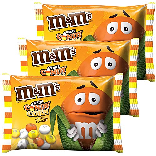 M&Ms Milk Chocolate Candies White Candy Corn Artificial Flavor 8.0 Oz Bag Pack of 3 | Limited Edition - Autumn, Fall & Winter Themed Candy.