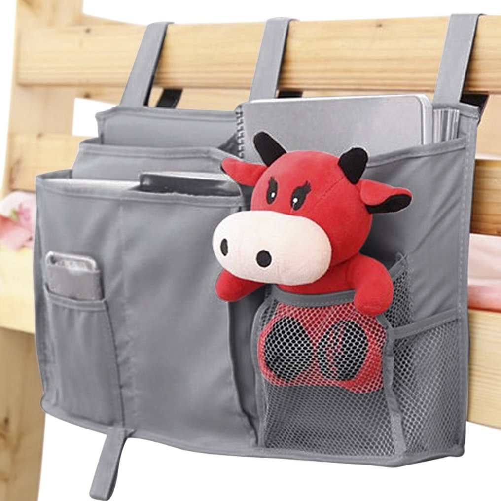 Bedside Organizer Pocket, Multiuse Hanging Storage Bag with 7 Divided Pockets for Magazines Cellphone TV remote Glasses, Universal Pram Organizer Bags, Nursery Baby Cot Tidy Baby Bottle Drinks Snacks Sundries Holder Pouch, Dorm Room Bedside Caddy