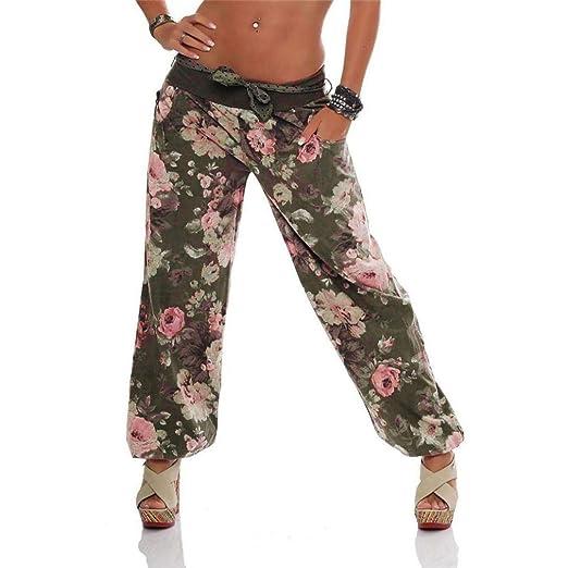 b6a65338e8 JOFOW Women's Pants,Casual Elastic Mid Waist Belt Floral Print Boho Exotic  Plus Size Flares