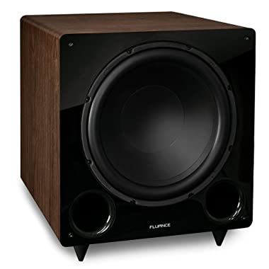 Fluance DB12W 12-inch Low Frequency Ported Front Firing Powered Subwoofer for Home Theater & Music (Natural Walnut)