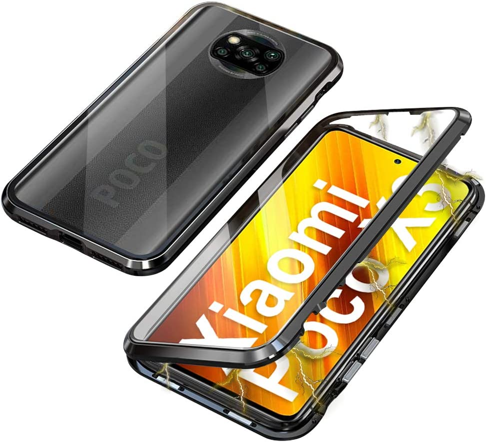 Adsorci/ón Magn/ética Parachoques de Metal con 360 Grados Protecci/ón Case Cover Transparente Ambos Lados Vidrio Templado Cubierta para Xiaomi Poco X3 NFC Negro Ellmi Funda para Xiaomi Poco X3 NFC