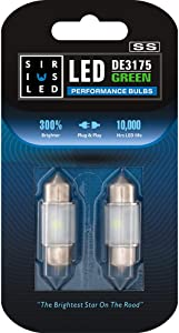 SIRIUSLED - SS DE3175 31MM LED Festoon Bulb for Car Interior, Map, Dome, Courtesy, Door, Trunk, Cargo, License Light with Cylinder Design Smooth Brightness Plug and Play Pack of 2 (Green)