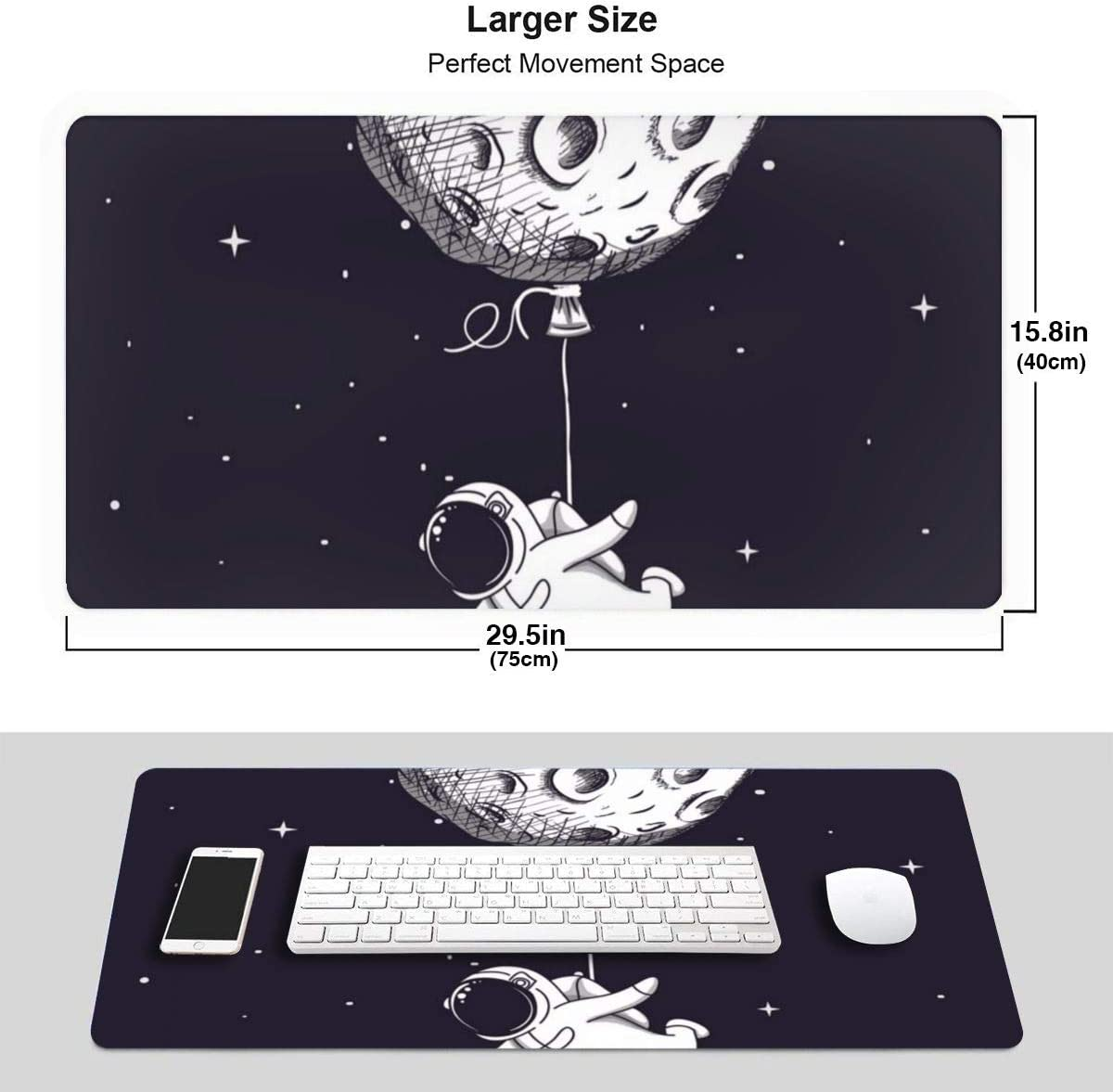 Draw A Cute Astronaut Design Pattern XXL XL Large Gaming Mouse Pad Mat Long Extended Mousepad Desk Pad Non-Slip Rubber Mice Pads Stitched Edges 29.5x15.7x0.12 Inch